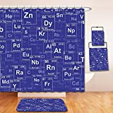 Nalahome Bath Suit: Showercurtain Bathrug Bathtowel Handtowel Periodic Table Chemistry Elements in Abstract Style Science Classroom Backdrop Royal Blue and White