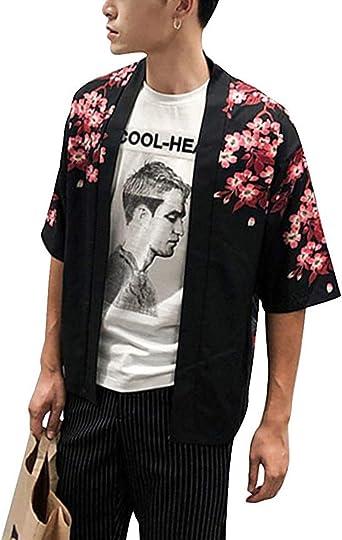 Mcaishen Chaqueta Tipo Cárdigan Harajuku para Hombre Ukiyo-eki Waves Estilo Japonés Kimono Protector Solar De Verano Sección Delgada Abrigo De Manga De Siete Puntos Marea: Amazon.es: Ropa y accesorios