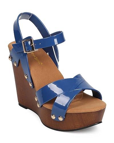 11135dee780 Women Jelly Peep Toe Studded Criss Cross Clog Wedge Sandal EB06 - Blue  (Size