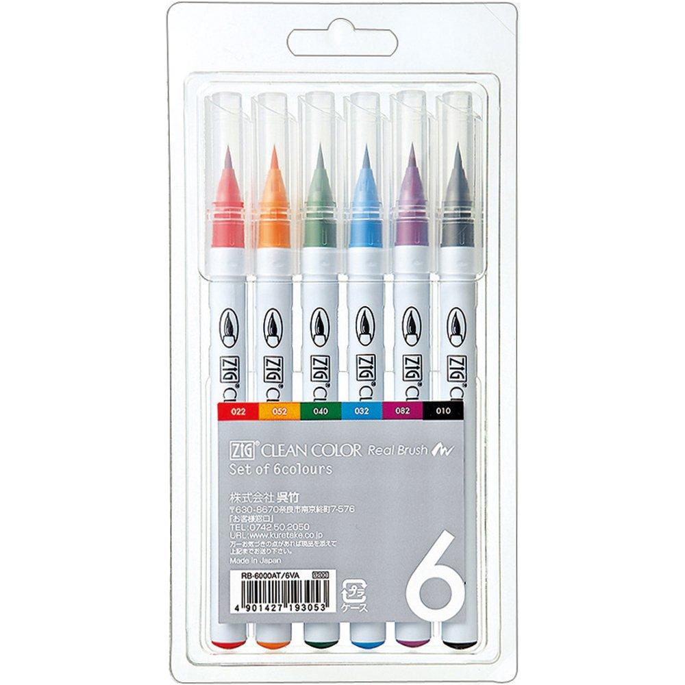 Marcadores ZIG Clean Color Real Brush Markers (6 unidades)