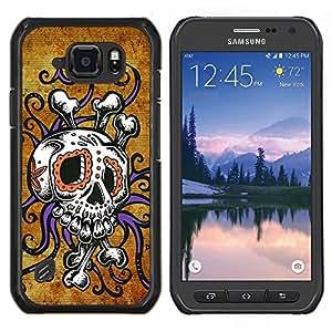 TECHCASE---Cubierta de la caja de protección para la piel dura ** Samsung Galaxy S6 Active G890A ** --Cráneo Pulpo floral púrpura del oro