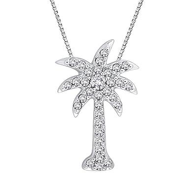 Amazon diamondpalm tree pendant necklace in 14k white gold 1 amazon diamondpalm tree pendant necklace in 14k white gold 15 cttw color gh clarity i2 i3 pendant necklaces jewelry aloadofball Images