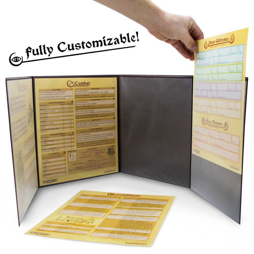 photo about Printable Dm Screen identified as Stratagem GRPG-002 The Masters Tome Customizable DM Display, Black