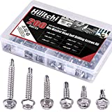 Hilitchi 410 Stainless Steel #8 Hex Washer Head Self Drilling Sheet Metal Tek Screws Assortment Kit Set with Drill Point, Self Driller, 200 Pieces