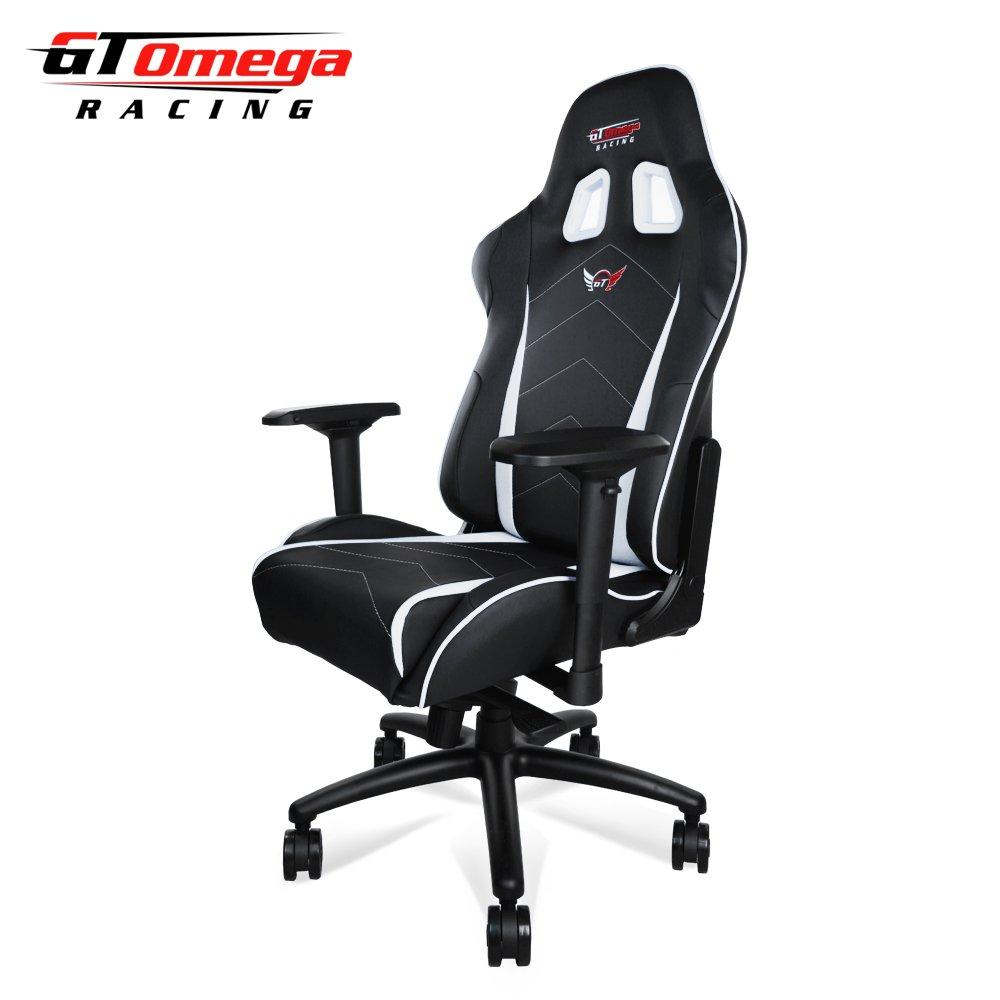 GT Omega Pro XL Silla de Oficina de Piel, diseño Deportivo, Color Blanco y Negro: Amazon.es: Hogar
