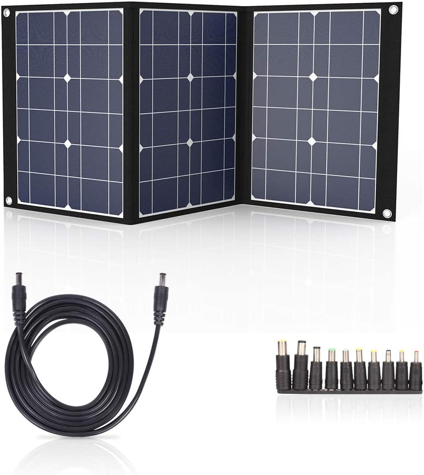 Solar Charger 50W Portable Solar Panel for Suaoki Jackery Explorer 240 Webetop Goal Zero Yeti Paxcess Portable Power Station Generator and Solar Charger Kit with MC4 Connector and 3 Output Ports