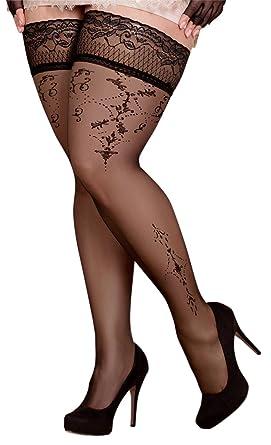 reduzierter Preis attraktiver Stil um 50 Prozent reduziert Ballerina Halterlose Strümpfe 371, schwarz, XL+, XXL+ | Strapsoptik