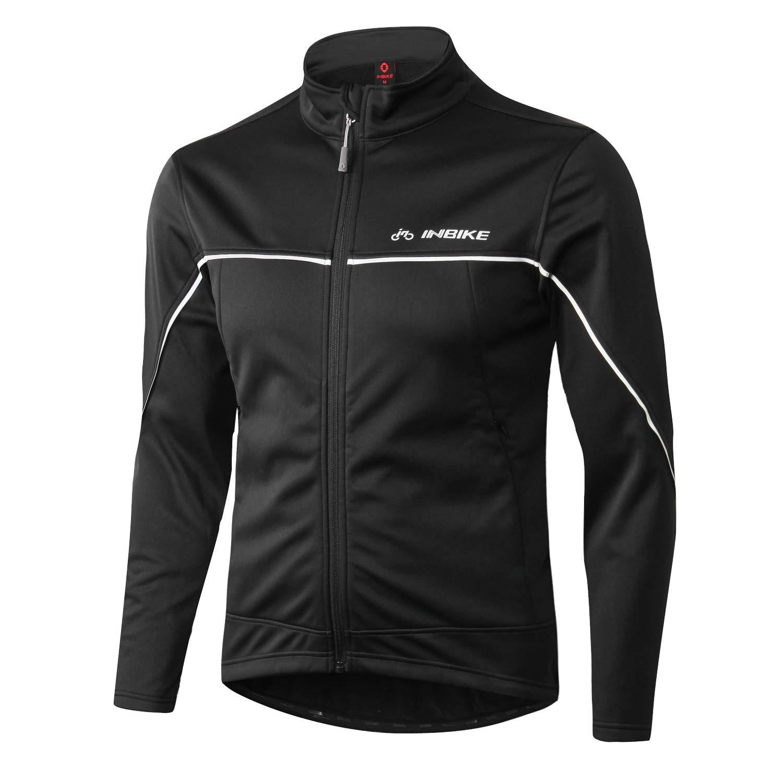 INBIKE Men's Cycling Jacket, Winter Fleece Thermal Windproof Soft Shell Wind Coat Black Medium by INBIKE