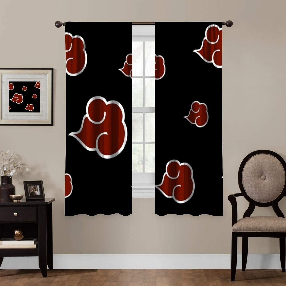 Blackout Curtains,Naruto Akatsuki Logo (7), Rod Pocket Thermal Insulated Darkening Window Drapes for Bedroom, Cute Animal Boys Girls Room Décor