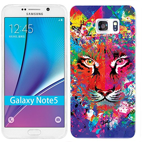 - Note 5 Case,Galaxy Note 5 Case, ChiChiC [Cute Series] Full Protective Case Slim Flexible Soft TPU Gel Rubber Cases Cover Skin for Samsung Galaxy Note 5,tiger head on green blue red yellow Shading