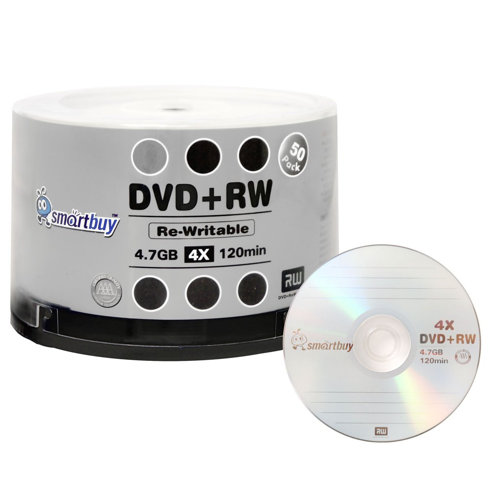 50 Pack Smartbuy Blank DVD+RW 4x 4.7GB 120Min Logo Rewritable DVD Media Disc