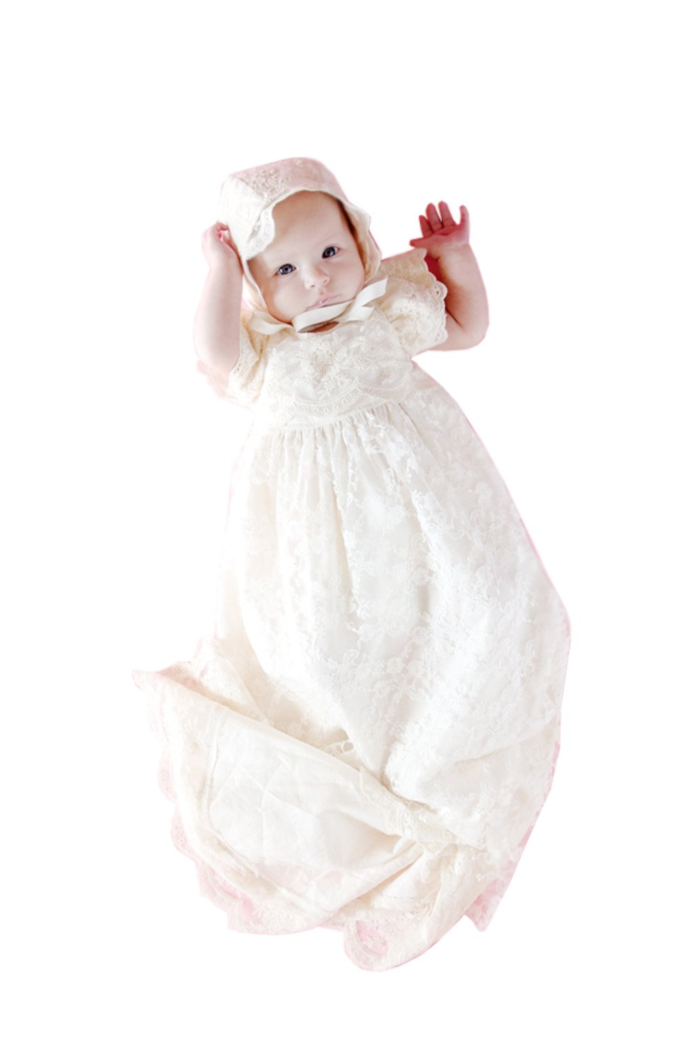 kelaixiang Baby-Girls Newborn Lace Satin Embroidered Dress Gown Outfit