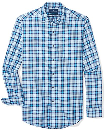 BUTTONED DOWN Men's Classic Fit Supima Cotton Spread-Collar Dress Casual Shirt, Large Navy/Bright Blue Check, 14-14.5