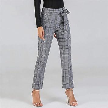 2cf6317dd9 OJJFJ Pantalones De Yoga Pantalones De Mujer Pantalones Grises Pantalones  Largos De Mujer Ropa De Otoño Ropa para Mujer Pantalones A Cuadros Nudo De  ...
