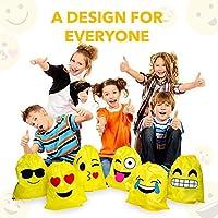 JZK 12pcs Encantador Emoji cordón Dibujos Animados Mochila Bolsas PE para cumpleaños niños y Adultos la Fiesta favorece la Bolsa, Rellenos Bolsas ...