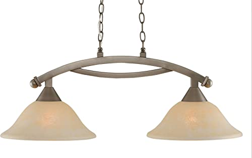 Toltec Lighting 872-BN-523 Bow 2 Light Island Light with 12 Amber Marble Glass, Brushed Nickel Finish