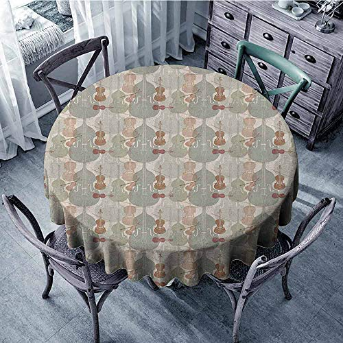 ScottDecor Overlays Round Tablecloth Circular Table Cover Music,Classical Instrumets String Quartet Violins Baroque Sonata, Pale Caramel Warm Taupe Reseda Green Diameter 50