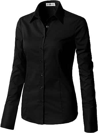 CLOVERY Women's Wrinkle-Free Long-Sleeve Slim Fit Button Down Shirt Black XL