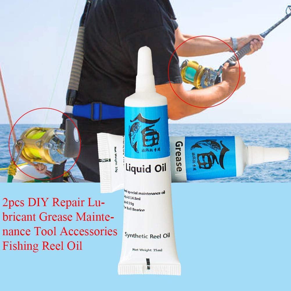 Ganquer 2pcs Bricolaje Reparaci/ón Lubricante Grasa Mantenimiento Herramienta Accesorios Carrete de Pesca Aceite Lubricante Pesca Herramientas