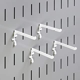 product image for Wall Control Paint Brush Hook and Thread Spool Holder Storage Organizer Pegs for Wall Control Metal Pegboard - (4) Pack of Narrow 3-Inch Reach Slotted Peg Hooks for Paint Brushes and Spools (White)