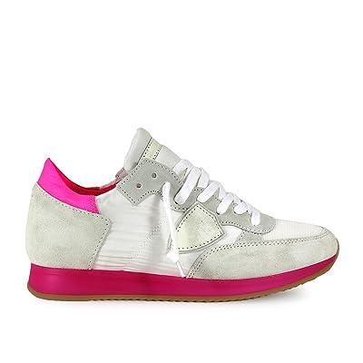 Femme Tropez Model Fuchsia Philippe Baskets Neon Chaussures Blanc N0w8nvmO
