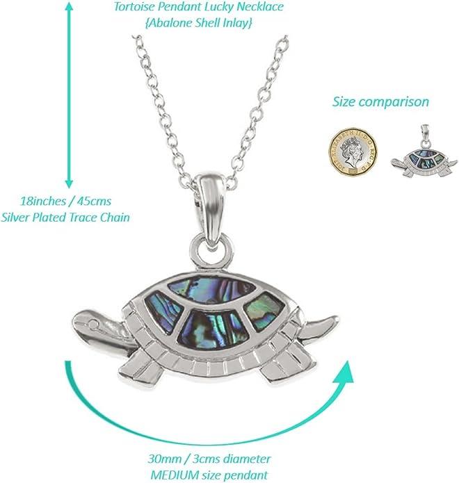 Femme tortue de mer Collier Shell Pendentif Argent Bijoux H