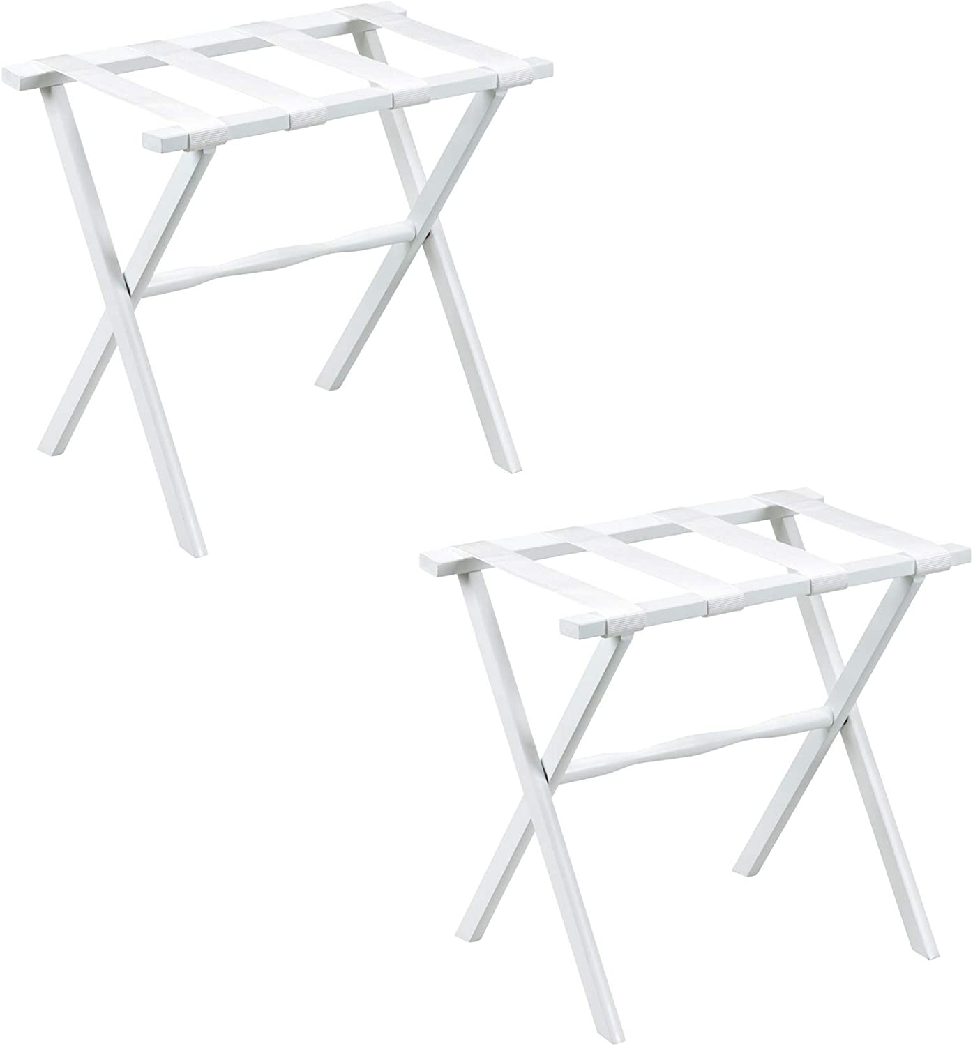 Gate House Furniture 2-Pack White Straight Leg Wood Luggage Rack 4 White Nylon Straps