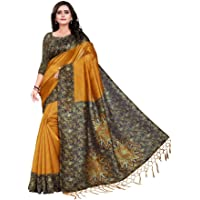 Jaanvi fashion Women's Art Silk Kalamkari Printed Saree with Tassels (Gold-Yellow)