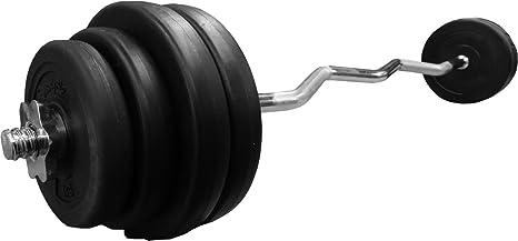 Barbell Curl Bodyrip Ez juego de pesas de vinilo 60 kg 2,54 cm de barras estándar de pesas: Amazon.es: Deportes y aire libre