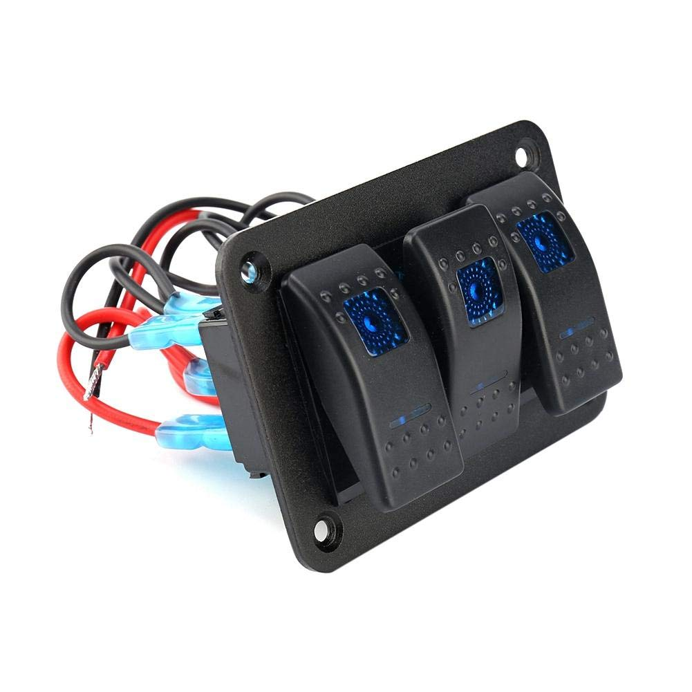 Rocker Switch Panel 12V//24V 3 Gang Dual LED Light Rocker Switch Toggle Rocker Switch Panel for RV Car Marine Boat