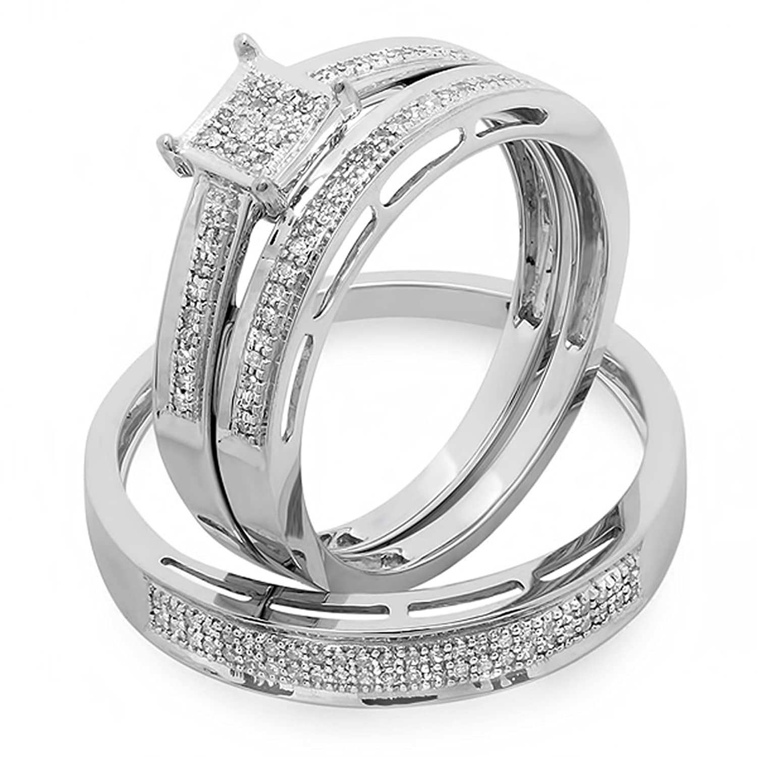 0.18 Carat (ctw) 10K White Gold Round Diamond Ladies & Mens His Hers Bridal Engagement Ring Trio Set