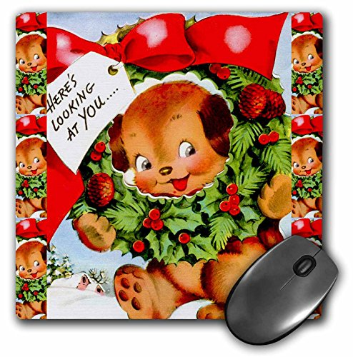3dRose Sandy Mertens Vintage Christmas Designs - Cartoon Dog with Christmas Holly and Pine Wreath Red Bow Ribbon - MousePad (mp_172791_1)