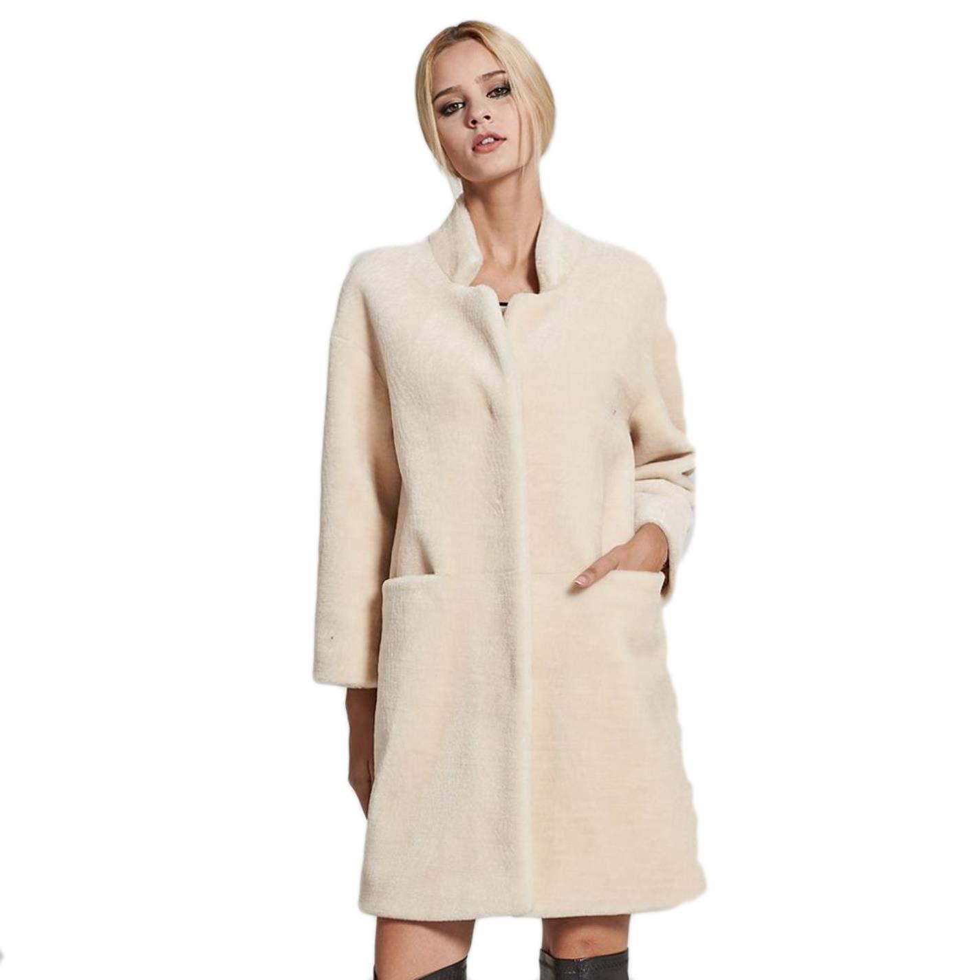 Beige Baeuty Women's Leather Coat Collar Collar Velvet Jacket Sheepskin Coat