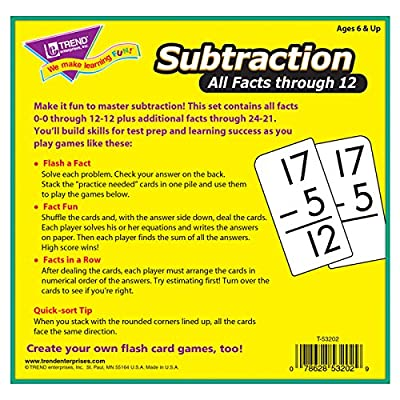 TREND Enterprises, Inc. T-53202BN Subtraction 0-12 All Facts Skill Drill Flash Cards, 2 Sets: Industrial & Scientific