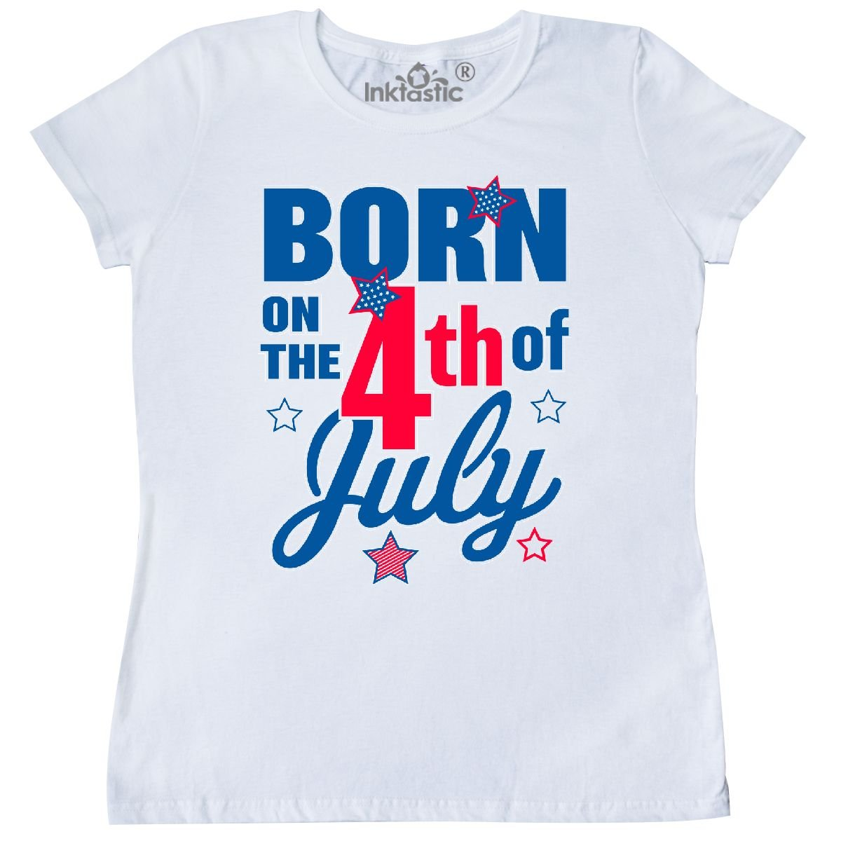 11df3bf4ca5 Amazon.com  inktastic - Born on The 4th of July Women s T-Shirt  Clothing