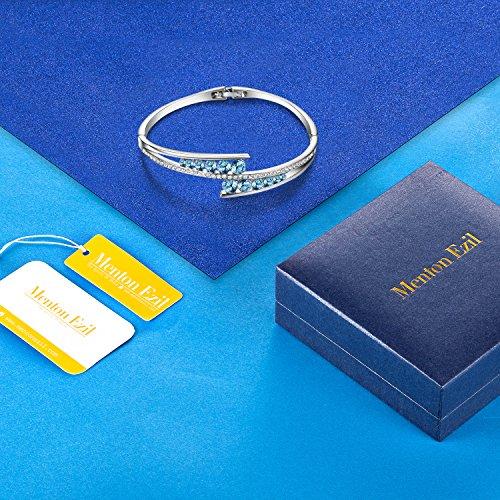 Menton Ezil ''Love Encounter Sapphire Blue Swarovski Bracelets Woman Bangle 7'' Charm Tennis Jewelry by Menton Ezil (Image #5)