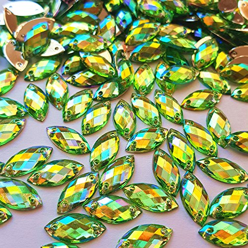 Big Sale 100pcs 7x15mm Horse Eye Shape Crystal AB Color Clear Sew On Acrylic Rhinestones Flatback Fancy Stones Sewing For Clothing Wedding Dress Decorations (green) Clear Ab Color