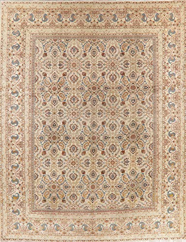 - Antique All-Over Persian Wool Area Rug Handmade Floral Oriental Carpet (13' 3'' X 10' 6'')