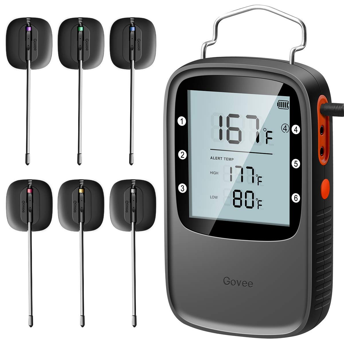 Bluetooth Cooking Thermometer, Govee Digital Meat Thermometer with Dual IPX7 Waterproof Probes, Remote Wireless BBQ Thermometer with Timer for Grilling Smoker Oven(164ft Working Range) by Govee