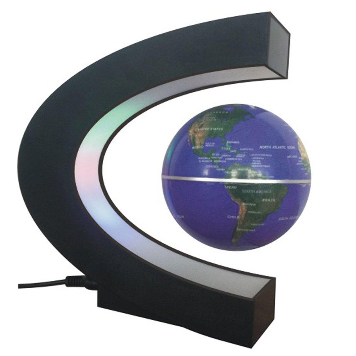 Umall Floating Globe, Magnetic Levitation Earth C Shape Anti Gravity Globe World Map with LED Lights 360 Degree Rotating for Learning Education Teaching Home Office Desk Decoration
