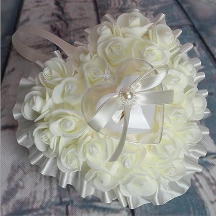 bpblgf Novia Arco Forma de corazón Espuma Rose heirate Anillo Almohada, 01, 17 *