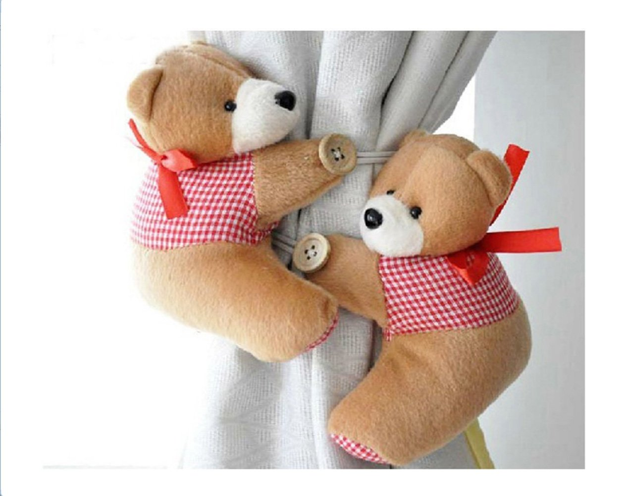 Honeyaing A Pair of Kid Child Infant Nursery Bedroom Livingroom Curtain Tieback Animal Cute Cartoon Teddy Bear Decorative Window Curtain Hooks Clip Clasps Toy CH005