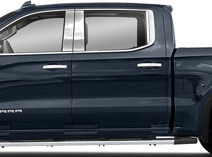 MAXMATE Made in USA Works with 2019 Chevy Silverado 1500 Double//Crew Cab 6PC Stainless Pillar Post Trim