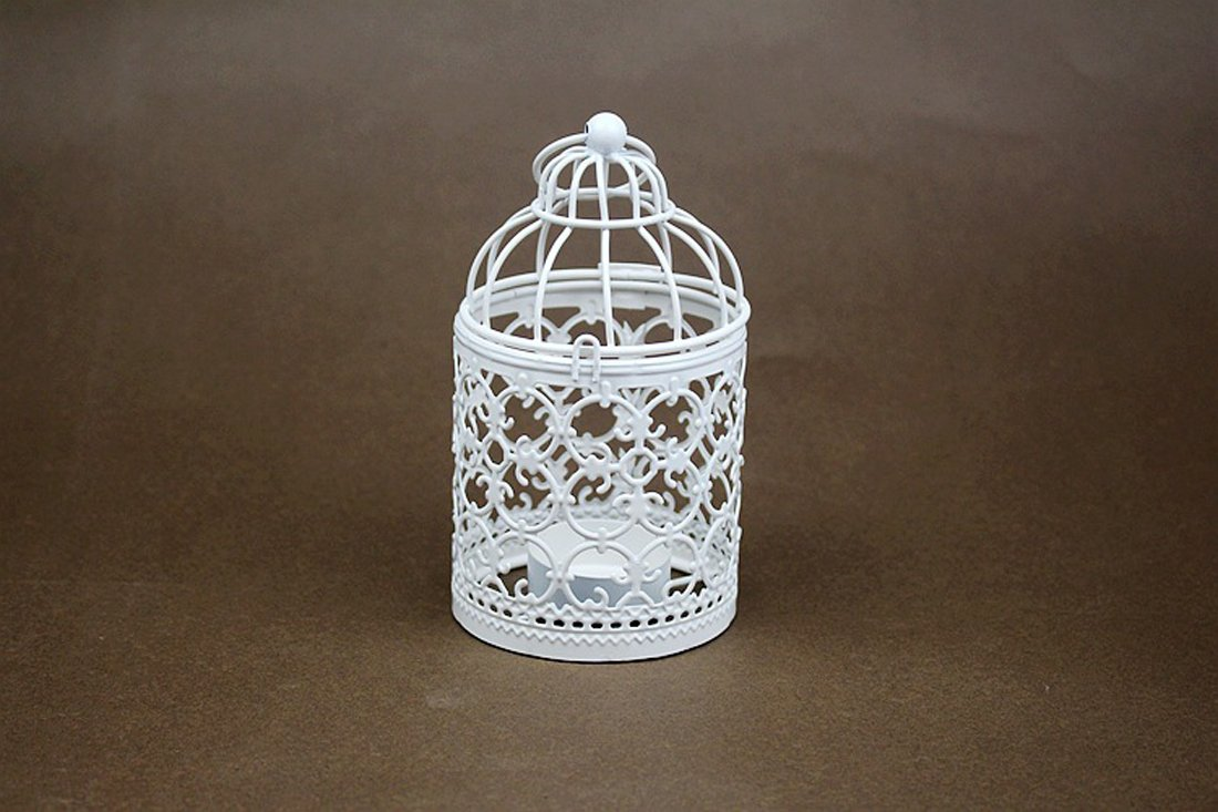 Birdcage Candlestick White, Metal Tealight Candle Holder Wedding Candle Centerpieces for Tables, Iron Candlestick Holder Home Decor (A) Happyear