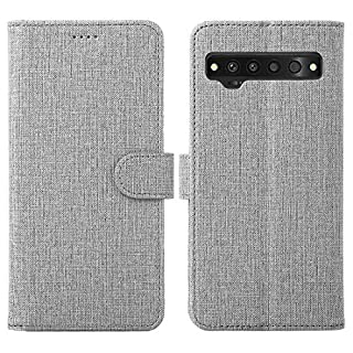 TCL 10 Pro Case, Foluu Flip/Folio Cover Wallet Magnetic Closure Card Slots Cash Holder Stand Kickstand Clear TPU Bumper Shockproof Protective Case for TCL 10 Pro (Gray)