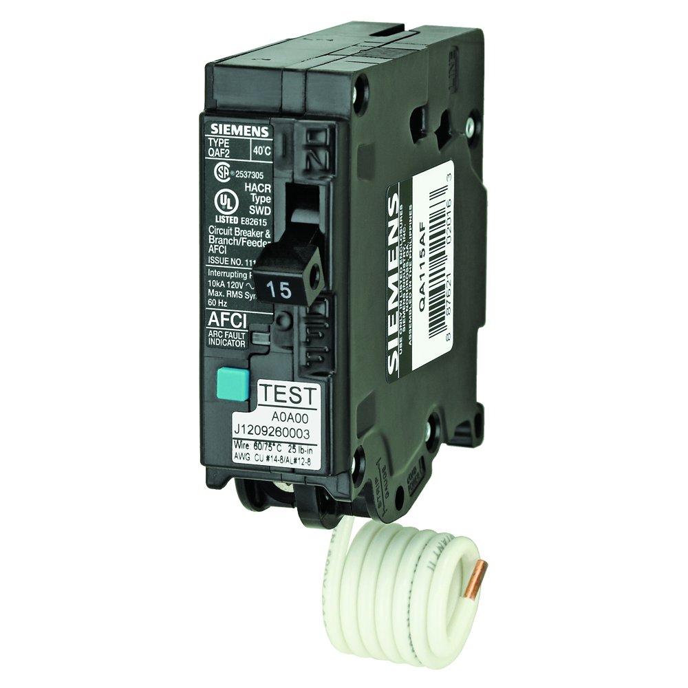 Siemens QA115AF 15-Amp, Single Pole, 120-volt, Plug On Type, Branch Feeder Style AFCI Breaker