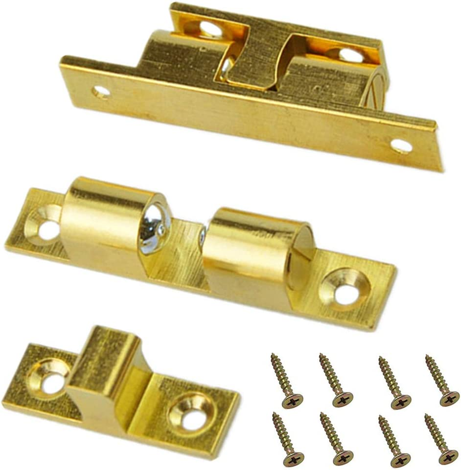2x CABINET//DRESSER FASTENER Solid Brass Showcase Door Closer Catch Turn Lock