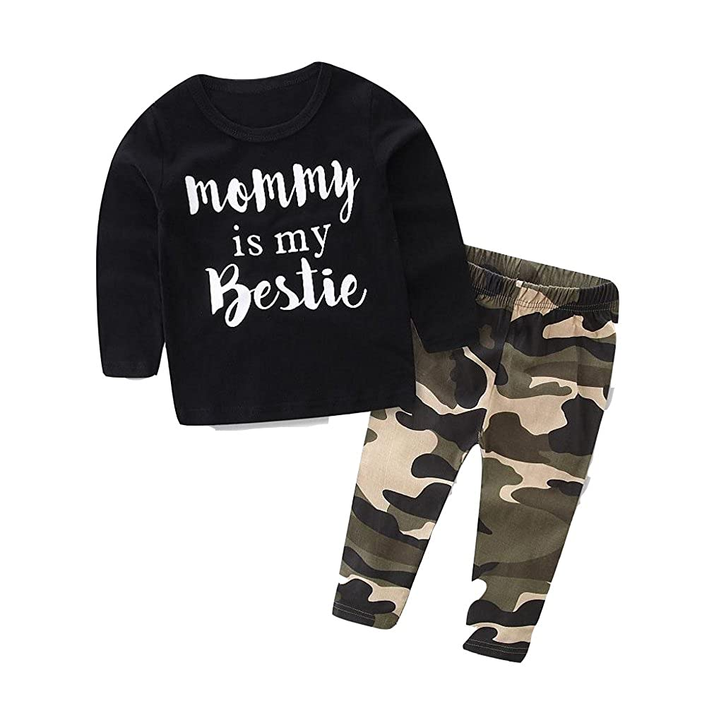 Nicerokaka Baby Boys Clothes Set Letter Print Tops +Camouflage Pants Outfits