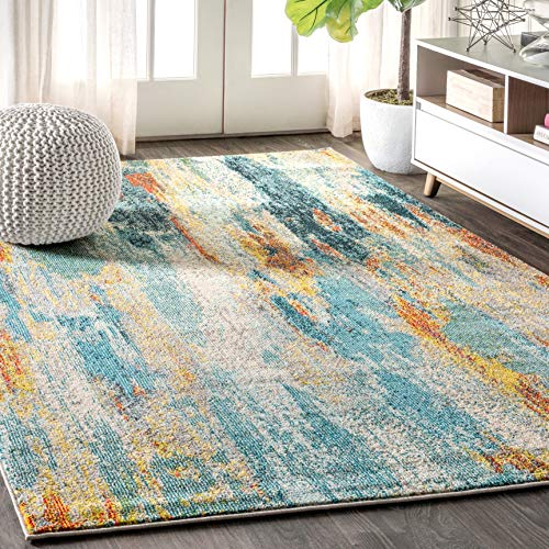 JONATHAN Y Contemporary POP Modern Abstract Vintage Waterfall Blue/Cream/Yellow 8 ft. x 10 ft. Area Rug, Bohemian…
