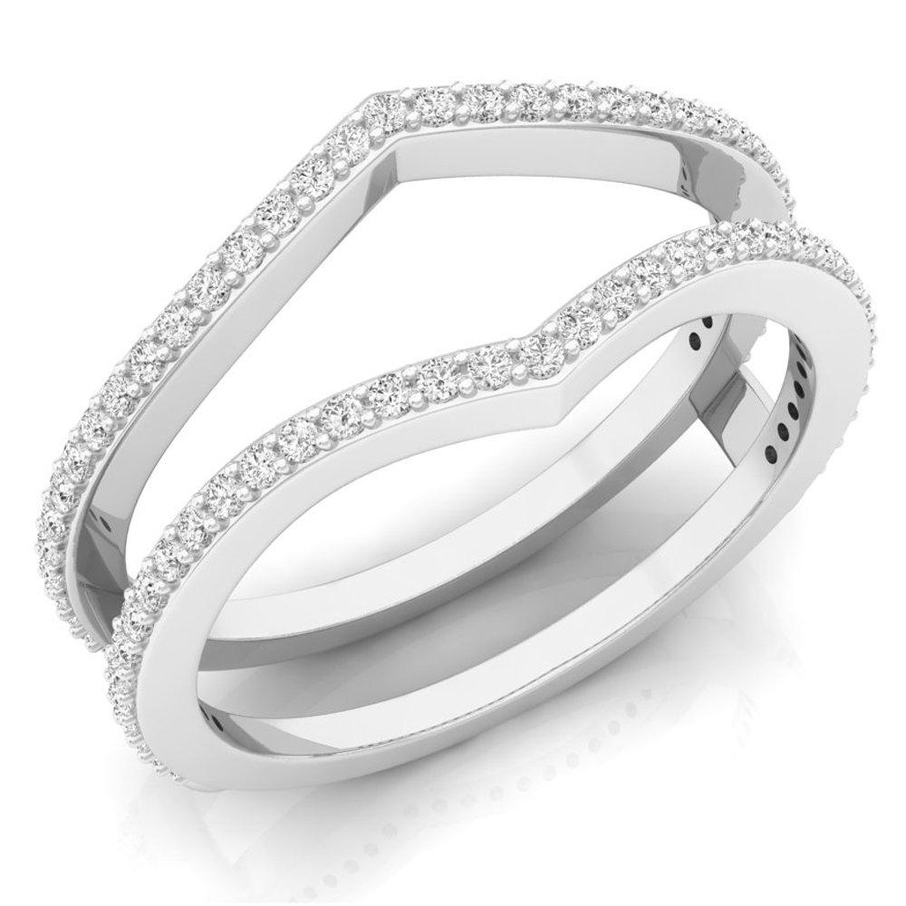 0.40 Carat (ctw) 10K White Gold Round Diamond Wedding Band Enhancer Guard Double Ring (Size 9)